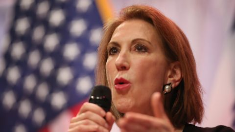Fiorina speaks to guests gathered at the Point of Grace Church for the Iowa Faith and Freedom Coalition 2015 Spring Kickoff on April 25, 2015, in Waukee, Iowa.