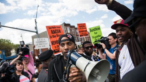 Protesters march from the Gilmor Homes housing community, where Freddie Gray was arrested, to City Hall on Saturday, May 2, in Baltimore.