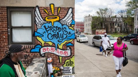BALTIMORE, MD - MAY 02:  A new mural is seen in the Gilmor Homes May 2, 2015 in Baltimore, Maryland. Freddie Gray, 25, was arrested for possessing a switch blade knife April 12 outside the Gilmor Houses housing project on Baltimore's west side. According to Gray's attorney, Gray died a week later in the hospital from a severe spinal cord injury he received while in police custody.  State attorney Marilyn Mosby of Maryland announced that charges would be brought against the six police officers who arrested Gray.  (Photo by Andrew Burton/Getty Images)