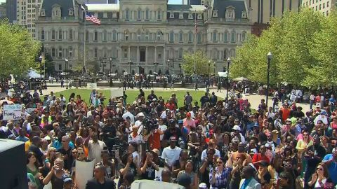 A rally is held in Baltimore on Sunday, May 3.