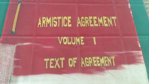 North Korea displays the armistice agreement that brought the brutal fighting of the Korean War to an end in 1953.