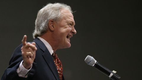 Potential Democratic presidential candidate former Sen. Lincoln Chafee (D-RI) delivers remarks at the South Carolina Democratic Party state convention April 25, 2015 in Columbia, South Carolina.