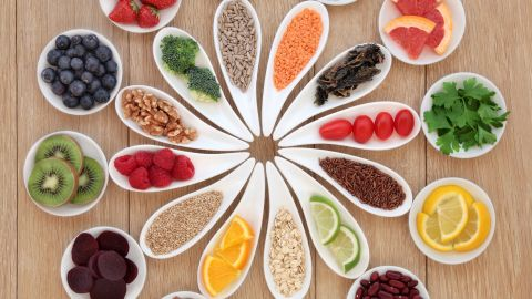 """Researchers defined a """"healthy diet"""" as one containing lots of fruits and vegetables, nuts, fish, moderate alcohol use and minimal red meat. Click through our gallery of superfoods for what to include in your healthy diet."""