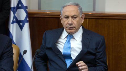 Caption:Israeli Prime Minister Benjamin Netanyahu looks on during the weekly cabinet meeting at his Jerusalem office on April 19, 2015. AFP PHOTO / POOL / MENAHEM KAHANA (Photo credit should read MENAHEM KAHANA/AFP/Getty Images)