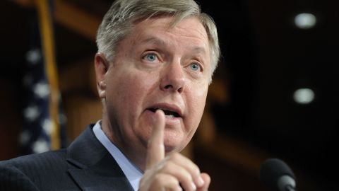 U.S. Sen. Lindsey Graham (R-SC) speaks to reporters after a news conference about his Social Security reform plan at the U.S. Capitol on April 13, 2011 in Washington, D.C.