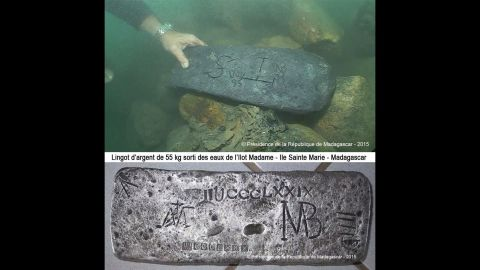 The office of Madagascar's President released photos of a silver bar that may have belonged to Capt. Kidd.