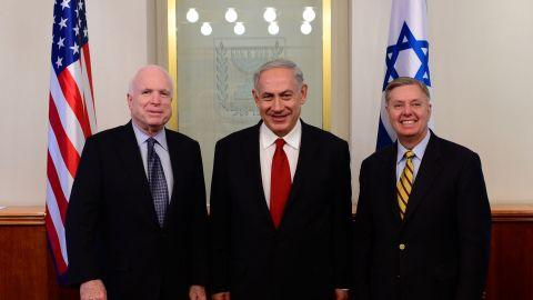 Israeli Prime Minister Benjamin Netanyahu, center, meets with U.S. Sen. John McCain, R-Arizona, and Graham on June 30, 2013, in Jerusalem.
