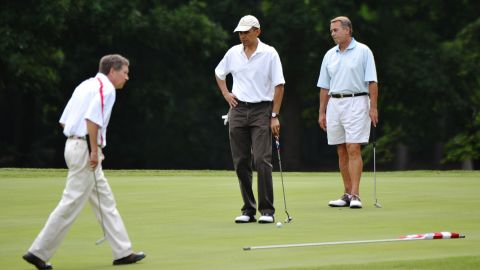 Kasich, left, President Barack Obama, center, and Republican House Speaker John Boehner play the first hole of a golf game on June 18, 2011, at Andrews Air Force Base in Maryland.