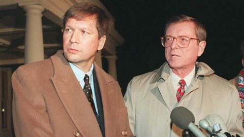 During a U.S. government shutdown, Kasich, left, and Sen. Pete Domenici, R-New Mexico, speak to reporters outside the White House on January 6, 1996.