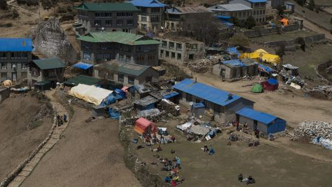 Namche Bazaar is usually bustling at this time of year in Nepal with mountaineers on their way to Everest Base Camp. Now, the town is dotted with tents filled with displaced people.