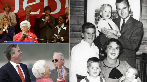 """Barbara Bush has always been an advocate for her younger son, Jeb. But amid speculation that he might run for president, the former first lady said, """"There are other people out there that are very qualified and we've had enough Bushes."""" But in February 2015 she changed her mind, calling into one of her son's fundraisers: """"Just listening in. Anyway ... what do you mean too many Bushes? ... I've changed my mind."""""""