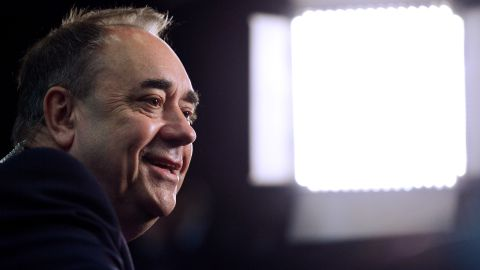 """Scottish National Party (SNP) candidate and former First Minister Alex Salmond conducts a television interview May 8 in Aberdeen, Scotland. Salmond called the results an """"electoral tsunami"""" in Scotland -- a swing in votes from Labour to the SNP."""