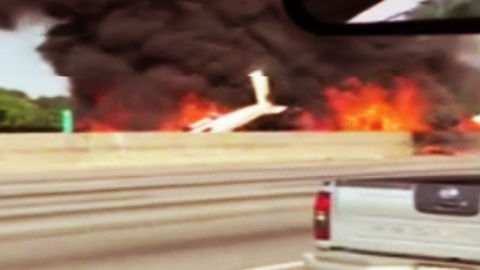 A single-engine plane carrying four people crashed on a highway north of Atlanta on Friday, May 8. All four people on board were killed, authorities say.