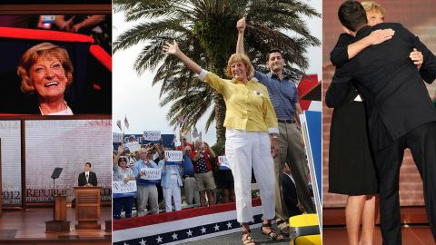 """Betty Douglas, the mother of U.S. Rep. Paul Ryan, was a familiar face on the campaign trail in 2012, when he was the GOP candidate for vice president, supporting her son each step of the way. Ryan's father died of a heart attack in 1986. Ryan said his mother gave him a """"big nudge"""" to take a job in politics because """"she was worried I would become a ski bum."""""""