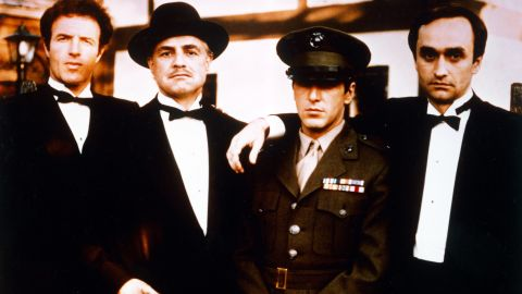 """""""The Godfather,"""" directed by Francis Ford Coppola, took home several Academy Awards in March 1973, including Best Picture and Best Adapted Screenplay. The film was based on the best-selling novel by Mario Puzo and starred, from left, James Caan, Marlon Brando, Al Pacino and John Cazale. Brando won the Oscar for Best Actor."""