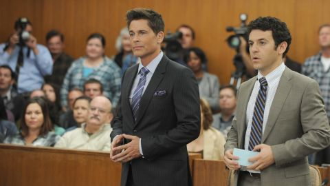"""Rob Lowe, center, stars in two new comedies this fall. In Fox's """"The Grinder,"""" he plays a TV lawyer who tries doing the real thing, opposite his brother, the real attorney, played by Fred Savage. It will air Tuesdays at 8:30 p.m. on Fox."""