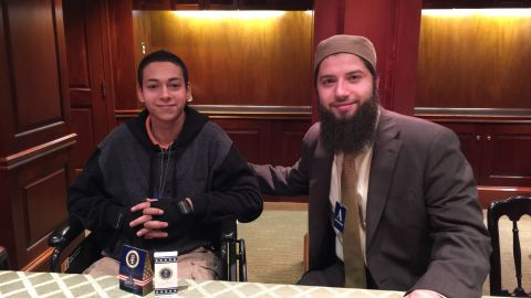 Tariq Khdeir and Hassan Shibly of CAIR-Florida at the White House on April 15