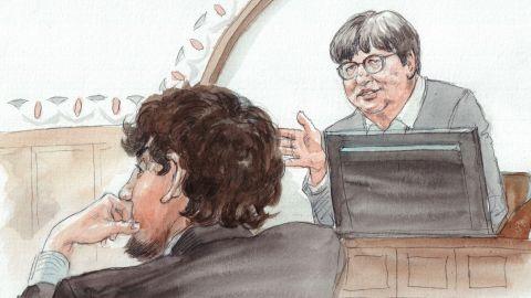 Tsarnaev trial sketch - Sister Prejean with Tsarnaev