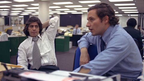"""Reporters Bob Woodward, right, and Carl Bernstein sit in the newsroom of the Washington Post newspaper in May 1973. Woodward and Bernstein's reporting on the Watergate scandal led to President Nixon's resignation and won them a Pulitzer Prize. In 1976, Robert Redford and Dustin Hoffman would portray the pair in the film adaptation of their book """"All the President's Men."""""""