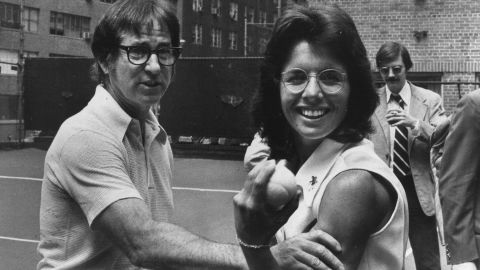In a nationally televised tennis match on September 20, 1973, Bobby Riggs, a former No. 1 tennis player, took on Billie Jean King, one of the top female tennis players at the time. Earlier in the year, Riggs put out a challenge to all female tennis players, saying no woman could beat him. King beat Riggs 6-4, 6-3, 6-3 and claimed a $100,000 prize.