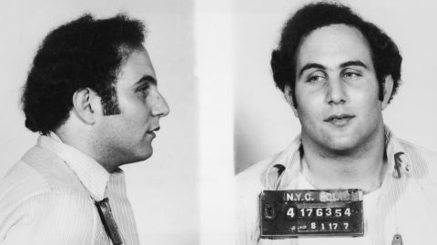 """A police mug shot showing New York City serial killer David Berkowitz, known as the """"Son of Sam"""" and the """"44 Caliber Killer.""""  Berkowitz killed six people and wounded seven others between 1976 and 1977, mostly young women and couples in secluded locations. At the time of his arrest, he claimed a demon spoke to him through a neighbor's dog. He is currently serving consecutive life sentences totaling more than 300 years."""