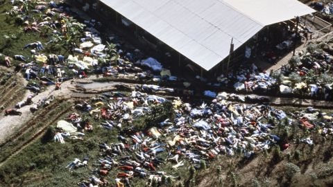 Bodies lie around the compound of the People's Temple in Jonestown, Guyana, on November 18, 1978. More than 900 members of the cult, led by the Rev. Jim Jones, died from cyanide poisoning; it was the largest mass-suicide in modern history.