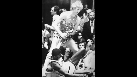 """The 1979 national championship game between Michigan State and Indiana State still ranks as the most-watched college basketball game of all time, thanks to two up-and-coming superstars: Michigan State's Earvin """"Magic"""" Johnson, bottom, and Indiana State's Larry Bird. Johnson's Spartans won the NCAA title, but the two players' rivalry was only just beginning. During their pro careers in the NBA, Bird's Boston Celtics and Johnson's Los Angeles Lakers would meet in the NBA Finals three times in the '80s."""