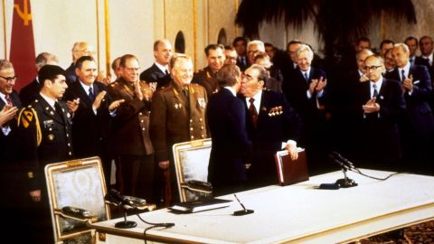 The Strategic Arms Limitation Talks, otherwise known as SALT, were a series of meetings and treaties designed at limiting and keeping track of the missiles and nuclear weapons carried by the United States and the Soviet Union. The first treaty was signed in 1972, and the second one was signed in 1979. Six months after the second signing, however, the Soviet Union invaded Afghanistan, and the United States never ratified the SALT II agreement.