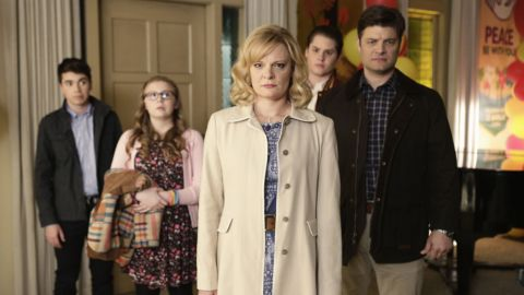 """The uptight family in """"The Real O'Neals"""" suddenly find themselves being more honest with each other after one of them comes out. The ABC comedy will star Martha Plimpton, center."""