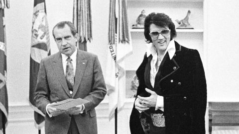"""Pop culture and politics collided on December 21, 1970, when the King of Rock 'n' Roll, Elvis Presley, visited President Richard Nixon in the White House Oval Office. The '70s may have been many things, but boring sure wasn't one of them. Check out 70 of the most unforgettable moments of the decade. For more, watch the CNN Original Series """"<a href=""""https://www.cnn.com/shows/the-seventies"""" target=""""_blank"""">The Seventies</a>."""""""
