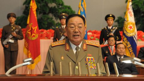 A file photo shows Hyon Yong Chol giving a speech at a national meeting in Pyongyang on December 29, 2012.