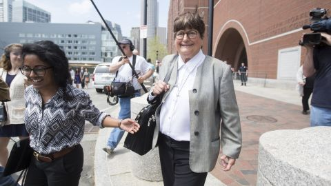 """Prejean leaves the courthouse in Boston on May 11, 2015, after <a href=""""http://www.cnn.com/2015/05/11/us/boston-bombing-tsarnaev-sentencing/index.html"""">testifying in the death penalty trial</a> of Boston Marathon bomber Dzhokhar Tsarnaev. She said she believed Tsarnaev was """"genuinely sorry"""" for the pain and suffering he inflicted on his victims. Three people were killed and 260 were injured in the 2013 bombings."""