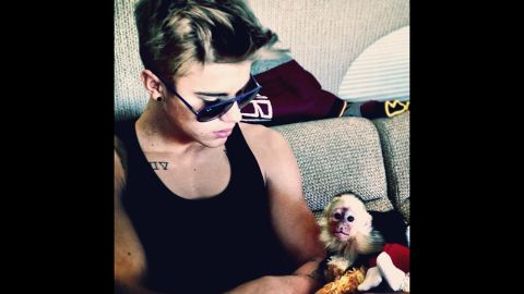 Justin Bieber and his Capuchin monkey pet Mally