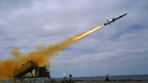 A Kongsberg Naval Strike Missile is launched from the littoral combat ship USS Coronado (LCS 4) during missile testing operations off the coast of Southern California in September 2014. The missile scored a direct hit on a mobile ship target.