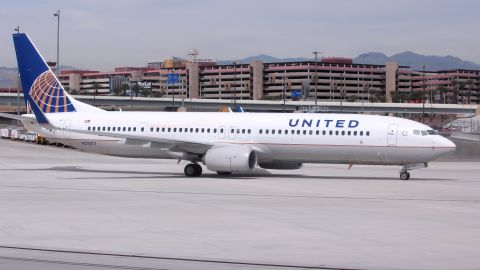 LAS VEGAS, USA - APRIL 15, 2014: Boeing 737-900 of United Airlines at Las Vegas McCarran International Airport. United carried 139 million passengers in 2013.