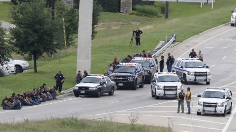 Authorities block an access road as the investigation takes place.