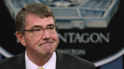 Secretary of Defense Ash Carter speaks to the media during a briefing at the Pentagon May 7, 2015 in Arlington, Virginia. Secretary Carter talked about various issues including the situation in the Middle East and the Department of Defense budget request.