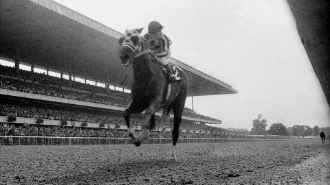 """Secretariat races toward the finish line, blowing away the field in record time to win the Belmont Stakes in June 1973. With the victory, Secretariat became the first horse to win the Triple Crown since Citation in 1948. The Triple Crown was won two other times in the '70s, by Seattle Slew in 1977 and Affirmed in 1978.<a href=""""https://www.cnn.com/2015/06/06/us/belmont-stakes-american-pharoah/index.html"""" target=""""_blank""""> In 2015, American Pharoah became the first horse to take the Triple Crown in 37 years.</a>"""
