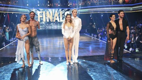 """Only three couples remained when the """"Dancing with the Stars"""" finale aired on Tuesday night. From left to right: pro dancer Sharna Burgess and Noah Galloway;  Riker Lynch and pro dancer Allison Holker; and Rumer Willis and pro dancer Valentin Chmerkovskiy. Click through the gallery to find out who took home the trophy."""