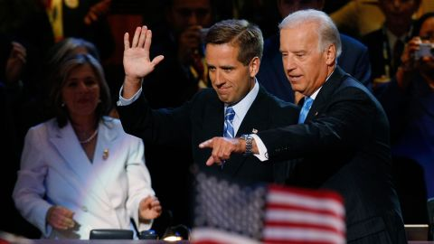 Vice presidential nominee Sen. Joe Biden walks with his son, Delaware Attorney General Beau Biden, at the Democratic National Convention at the Pepsi Center in Denver, Colorado on August 27, 2008.