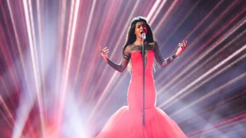 Aminata of Latvia performs on stage during rehearsals for the second Semi Final of the Eurovision Song Contest 2015 on May 20, 2015 in Vienna, Austria.