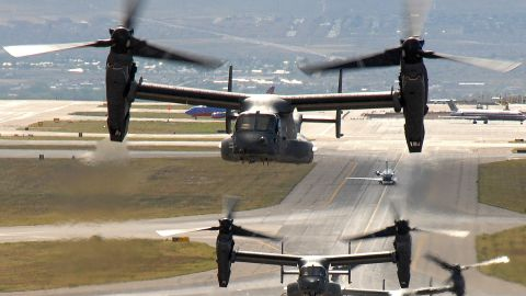The Osprey is a tiltrotor aircraft that combines vertical takeoff, hover and landing qualities of a helicopter with the normal flight characteristics of a turboprop aircraft, according to the Air Force. It is used to move troops in and out of operations as well as resupply units in the field. The Air Force has 33 Ospreys in inventory.