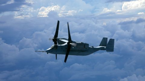 An MV-22 Osprey from Marine Medium Tiltrotor Squadron 262 soars over the Pacific Ocean during a flight from the Philippines to Australia in 2014. Marines and aircraft from VMM-262, VMM-265 and Marine Aerial Refueler Transport Squadron 152 flew approximately 4,700 miles from Okinawa, Japan, to Brisbane, Australia, to provide aerial support for President Barack Obama and Marine Helicopter Squadron One during the G20 Summit. When paired with the KC-130J tanker, the Osprey can provide assault support anywhere in the 105 million square miles that make up the Marine Forces Pacific area of responsibility.