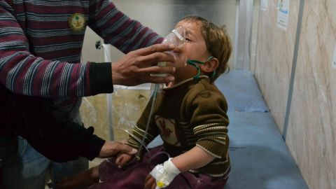 A Syrian boy receives treatment at a local hospital following a suspected chlorine gas attack in Idlib on April 27, 2015.
