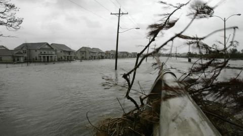 """<strong>Rita, 2005</strong>: Just a month after Katrina, <a href=""""http://www.nhc.noaa.gov/data/tcr/AL182005_Rita.pdf"""" target=""""_blank"""" target=""""_blank"""">Hurricane Rita</a> piled on, slamming into the Louisiana coast. Wind, rain and tornadoes left billions in damages from eastern Texas to Alabama. Here, surging water from Rita reach the streets of New Orleans' Ninth Ward, topping a levee that had just been patched after Katrina damaged it."""