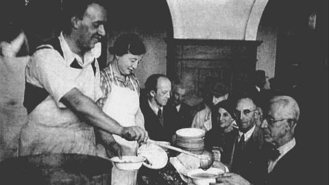 Food being served for Jewish refugees that had just arrived Shanghai.  Many Jewish charity organizations provided aid to the refugees to help them survive.