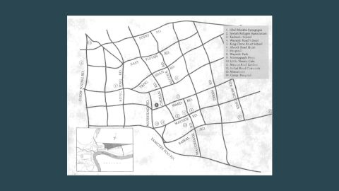 A map of the ghetto. Around one square mile, the area was home to around 25,000 Jews and 100,000 Shanghai locals.