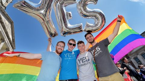 Supporters in favor of same-sex marriage pose for a photograph as thousands gather in Dublin Castle square awaiting the referendum's outcome on May 23.