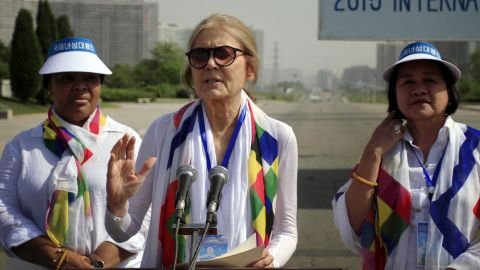 U.S. activist Gloria Steinem, center, delivers a speech at the Three Charters for National Reunification Memorial Tower, Saturday, May 23, 2015, in Pyongyang, North Korea, ahead of their march across the Demilitarized Zone that they hope will bring world attention to calls for a resolution to tensions on the Korean Peninsula. (AP Photo/Jon Chol Jin)