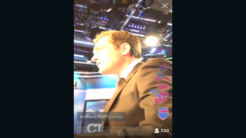 Periscope users can tap the screen to send hearts to the broadcaster. Here, a flurry goes up during one of Foster's broadcasts.